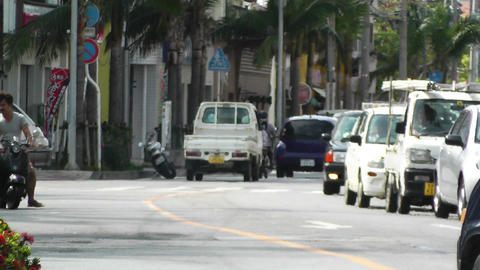 Rural Town Traffic in Okinawa Islands 14 Stock Video Footage