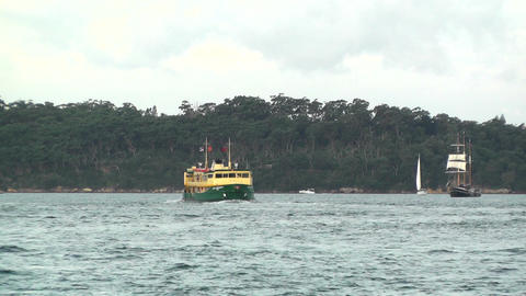 Sydney Harbour ships 01 Stock Video Footage