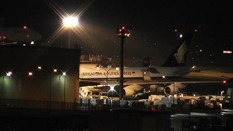 Tokyo Narita Airport at Night 10 Stock Video Footage