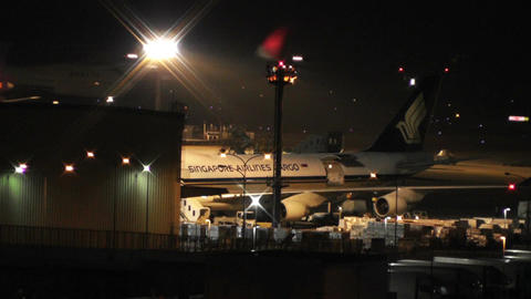 Tokyo Narita Airport at Night 10 Stock Video Footage
