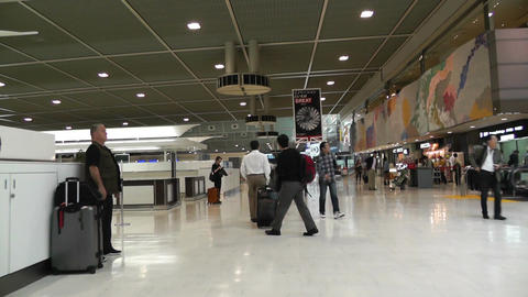 Tokyo Narita Airport Check in Area 02 fast motion timelapse Stock Video Footage