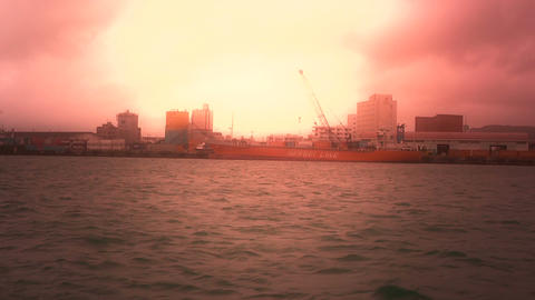 Tracking shot from vessel in Japan stylized 02 Stock Video Footage