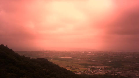 View from a Mountain to Suburban City stylized Stock Video Footage