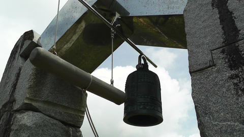 World Peace Bell in Ishigaki Okinawa Islands 04 sound Stock Video Footage