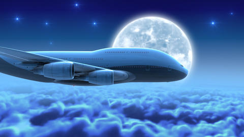 Night flight over clouds Stock Video Footage