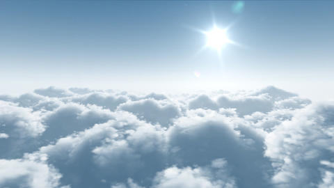 twenty-four hours, flight over clouds Stock Video Footage