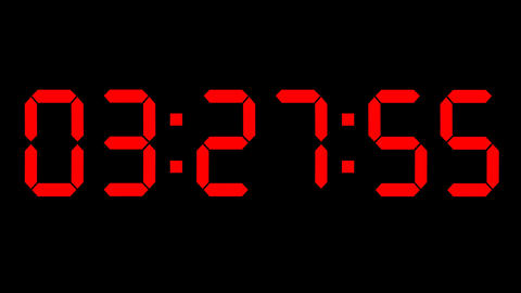 Countdown clock red led Stock Video Footage