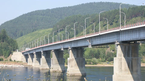 Road bridge over Siberian Yenisei River 02 Stock Video Footage
