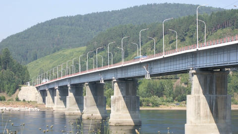 Road bridge over Siberian Yenisei River 02 Footage