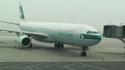 Beijing Capital International Airport 02 cathay pacific Stock Video Footage