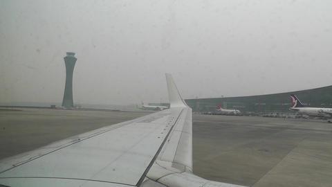 Beijing Capital International Airport 12 on the runway handheld Footage
