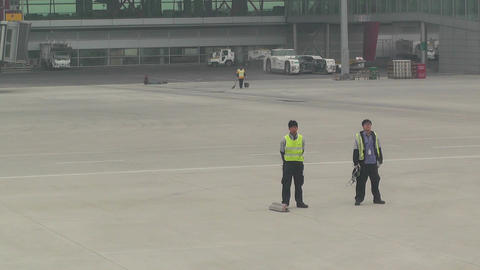 Beijing Capital International Airport 14 leaving handheld Stock Video Footage