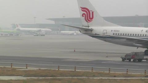 Beijing Capital International Airport 16 on the runway... Stock Video Footage