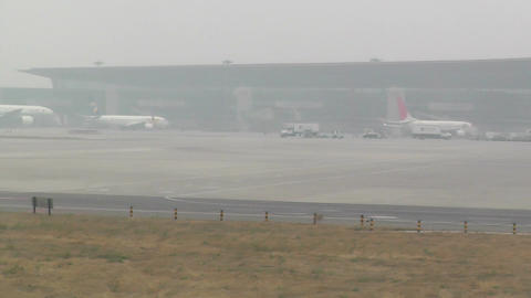 Beijing Capital International Airport 17 on the runway... Stock Video Footage
