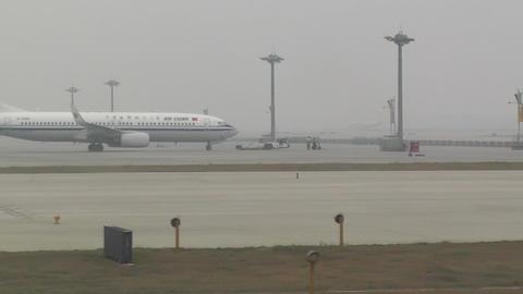 Beijing Capital International Airport 19 on the runway... Stock Video Footage
