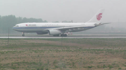 Beijing Capital International Airport 21 on the runway air china handheld Footage