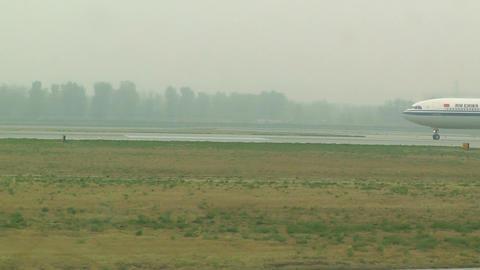 Beijing Capital International Airport 23 on the runway... Stock Video Footage