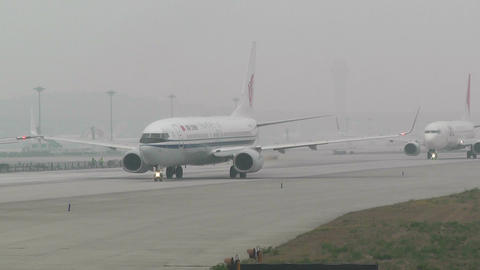 Beijing Capital International Airport 25 on the runway... Stock Video Footage