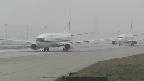 Beijing Capital International Airport 25 on the runway... Stock Video Footage
