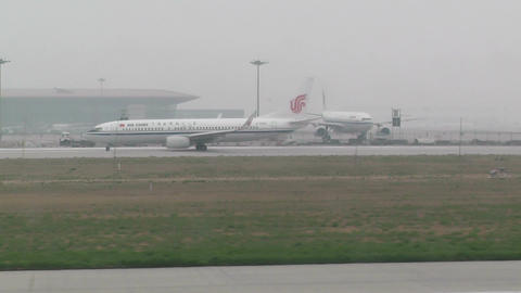 Beijing Capital International Airport 27 on the runway... Stock Video Footage