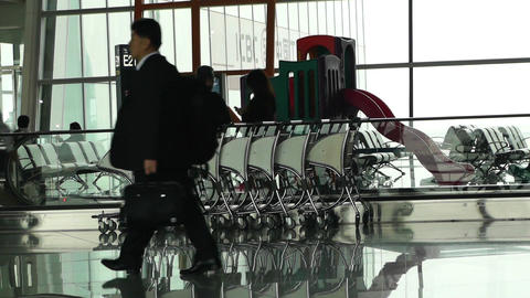 Beijing Capital International Airport Terminal Waiting Hall 02 passengers Footage