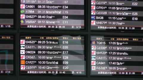 Flight Timetable in Beijing Capital Airport handheld Stock Video Footage