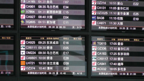Flight Timetable in Beijing Capital Airport handheld Stock Video Footage