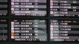 Flight Timetable in Beijing Capital Airport handheld Footage