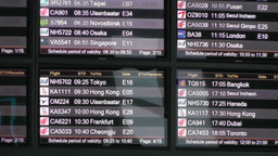 Flight Timetable in Beijing Capital Airport handheld Footage