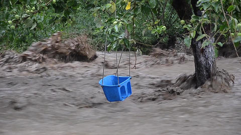 Baby blue swing remained above the troubled waters 2465 Footage