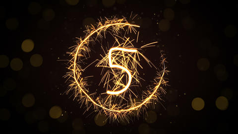 new year sparkler countdown animation 4k (4096x2304) Animation
