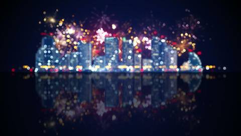 out of focus city lights and fireworks loop animation 4k (4096x2304) Animation