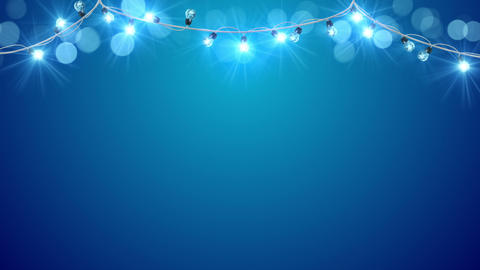 christmas blue light bulbs loopable animation 4k (4096x2304) Animation