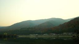 Autumn, River, Bridge, Mountains stock footage