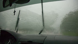 2528 view of the rain through the windshield of the car Footage