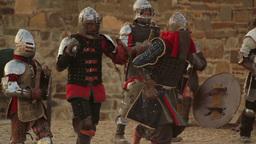 2536 battle of knights in armor on the battlefield Footage