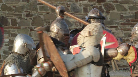 2545 beginning of the battle of knights in armor in the castle during the day Footage
