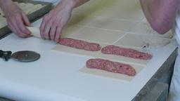 german baker making meat roll bun 4k 11748 Footage