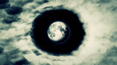 Moon Black Sky Epic Round of Clouds Stars Footage Animation