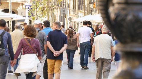Tourists Visiting Barcelona in Autumn Live Action
