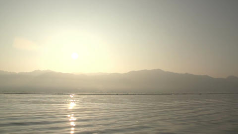 Nyaung Shwe, POV from boat on floating mountains at sunrice Footage