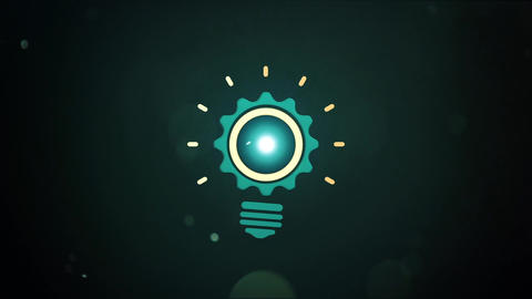 Mechanical animated glowing Bulb Gear like pendulum for intro and logo reveal After Effects Template