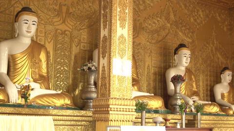 Pathein, Buddha Statues At The Shwemokehtaw Pagoda Footage