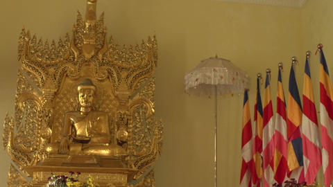 Pathein, Buddha Statue At The Shwemokehtaw Pagoda Footage