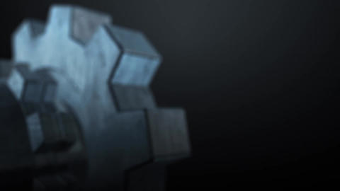 Mechanical rusty metal gear animation for intro and Classic logo reveal - 1