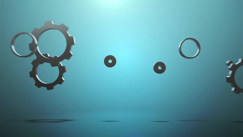 Mechanical metal gear underwater animation for intro and logo reveal After Effects Template