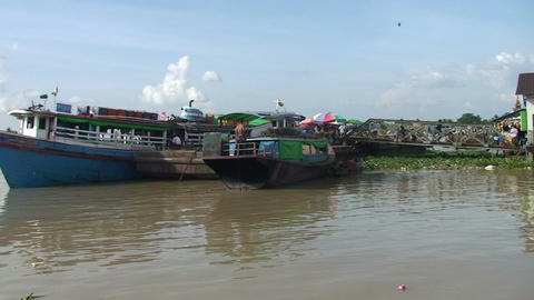 Pathein, Big Transport Boats At Harbour stock footage