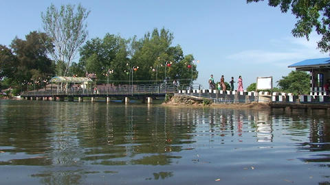 Pathein, women walking on a bridge Footage