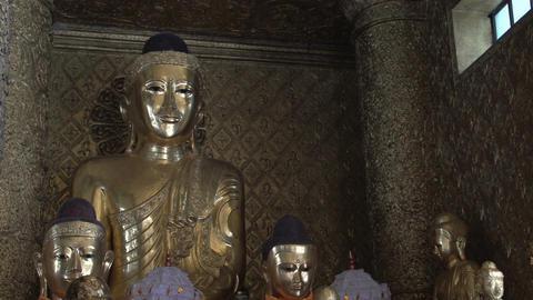 Shwedagon Pagoda, Buddha statues Footage