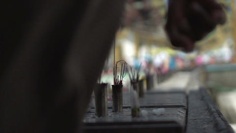 Shwedagon Pagoda, incense sticks Footage